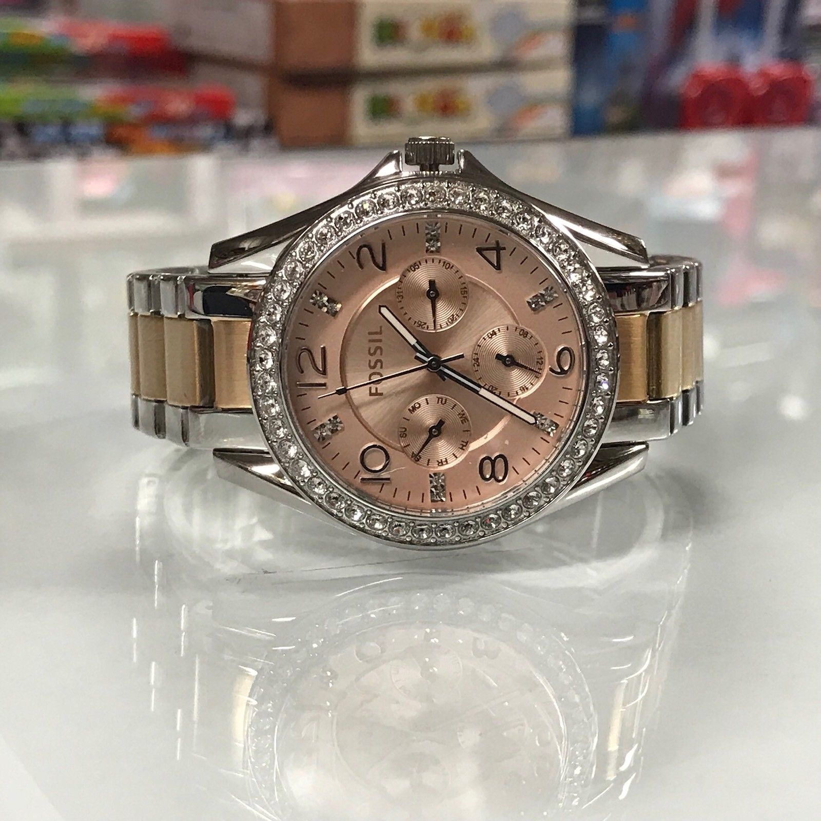 Fossil Es4145 Riley 2 Tone Rose Gold And 50 Similar Items Watch Modern Pursuit Chronograph Stainless Steel Women