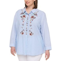 Tommy Hilfiger Plus Size Cotton Embroidered S BlueWhite 2X - $74.99