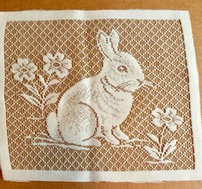 White Lace Bunny Rabbit Panel Square 10.5 X 9 inches Crafts Easter Flowers image 1