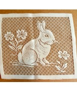 White Lace Bunny Rabbit Panel Square 10.5 X 9 inches Crafts Easter Flowers - $10.84