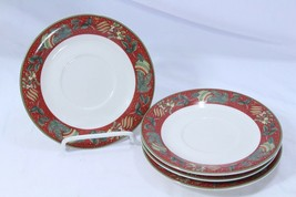 """Gibson Boughs of Holly Xmas Saucers 6.375"""" Lot of 4 - $29.39"""