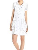 Kensie Women Silver Polka Dot Lace Panel Drawstring White Shift Dress XS... - $27.43