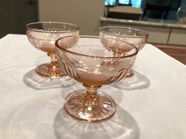 Vintage Pink Depression Glass Open Rose Sherbet Glasses Set of 3 - $23.36