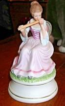 Vintage Porcelain Elegant Lady Flutist Music Box - $23.38