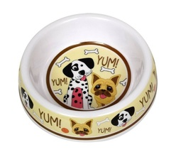 "Dog Food Bowl Plastic 7"" Yum Dalmatian Bulldog Bone NEW - $9.99"
