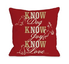 One Bella Casa Know Dog Throw Pillow, 26 by 26-Inch, Red - $65.09
