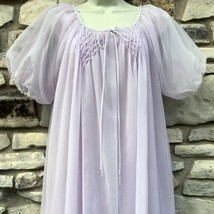 Peignoir Set Nightgown Robe Lavender Double Nylon Chiffon Smocking Pearl... - $159.99