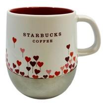 Starbucks 2007 Coffee Mug Valentine Hearts Silver Base Red Pink Balloons... - $11.87