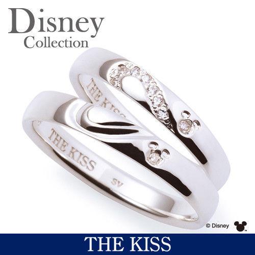 Disney × THE KISS Mickey mouse Diamond Pair ring Sterling Silver 925 Men Women