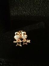 Beautiful gold tone crystal rhinestone love birds button pin BROOCH jewelry - $3.95