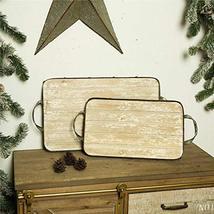 1 Pair Galvanized Iron Tray Rustic Christmas Serving Tray Decors TkLinkin17 - $104.94