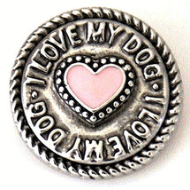 I Love My Dog Pink Heart 20mm Charm For Ginger Snaps Magnolia Vine - $6.19
