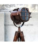 Modern Copper Floor Lamp With Wooden Tripod Vintage Photo Shot Searchlig... - $114.09