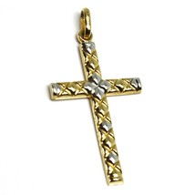 18K YELLOW WHITE GOLD CROSS PENDANT 30mm, 1.18 inches, ROUNDED ALTERNATE SQUARES image 1