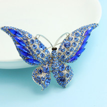 Big Butterfly Brooches Bouquet Austrian Crystal Brooch Pins Coral Big Si... - $21.29