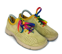 Dansko womens yellow green Elise comfort sneakers suede leather shoes sz 7.5 38 - $49.49