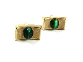 Vintage Gold Tone Malachite Cufflinks By S In Shield 22717 - $19.99