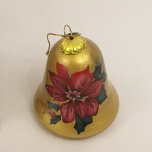 Glass Christmas Ornament Li Bien Poinsettia Bell Shaped Pier 1 Imports 2016 - $14.99