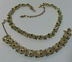 Vintage Signed LONGCRAFT Green AB Rhinestone Necklace & Bracelet - $55.00