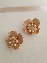 Vintage Gold Tone Pink Sand Enamel Faux Pearl Flower Clip On Earrings  - $30.00