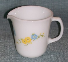 Vtg Pyrex Flirtation CREAMER-White Milk Glass/Butterflies W Blue Yellow Flowers - $6.95