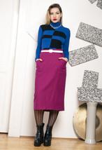 80s vintage pink wool pencil skirt - $34.94