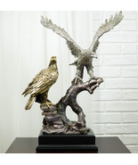 Large King Of The Skies Majestic Electroplated Gold Silver Bald Eagles S... - $155.99