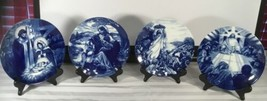 4  - The Life Of Jesus Avon  Cobalt Blue Plates Designed And Dated 1991 To 1994 - $69.25