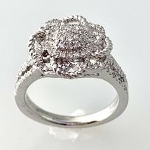 Diamond Flower Swirl Ring in Sterling Silver Sz 7  #143 - $65.33