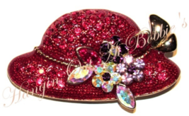 Red Hat Pin Brooch Multicolor Crystal Flowers Bouquet Gold Tone Metal Fashion - $19.99