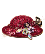 Red Hat Pin Brooch Multicolor Crystal Flowers Bouquet Gold Tone Metal Fa... - $19.99
