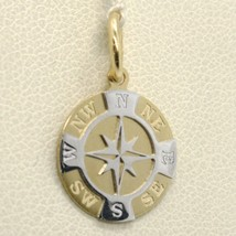 SOLID 18K YELLOW WHITE GOLD 13 MM WIND ROSE COMPASS CHARM PENDANT, MADE ... - $161.00
