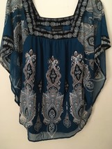 INC TEAL BLUE MISSES top/blouse. Wing sleeves. Size M. Sheer. NWOT! - $17.99