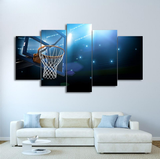 Basketball Sports Canvas Wall Art For Boys Bedroom Decor: Framed 5 Piece Basket Goal Sports Basketball Canvas