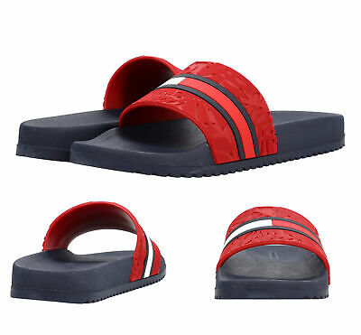 Men's Tommy Hilfiger Casual Designer Flag Logo Slippers Roben Slide Sandals