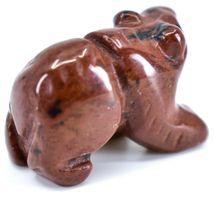 Mahogany Obsidian Gemstone Tiny Miniature Bear Figurine Hand Carved China image 4