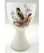 Lovely White Satin Bristol Glass Chalice Vase w/ Songbird Bird Sparrows ... - $24.70