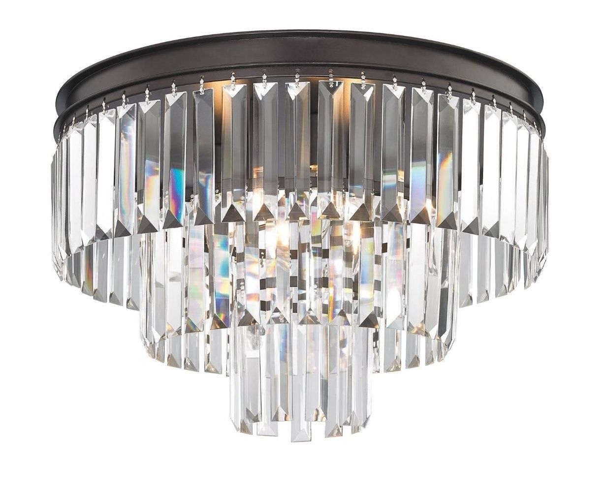 Primary image for Odeon Crystal Glass Fringe 3 Ring Tier Flushmount Chandelier Ceiling Light New
