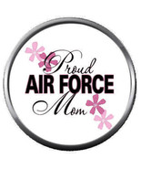 Pink Proud Mom USAF Air Force Support US Military 18MM - 20MM Snap Jewel... - $5.95