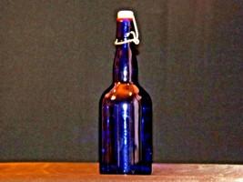 Blue Cobalt Bottle with Porcelain Swing AA19-1573 Vintage image 2