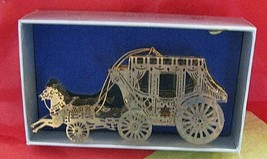 Horse drawn Carriage Gold 'N Brass Christmas Collectibles Tree Or Mantel... - $9.89