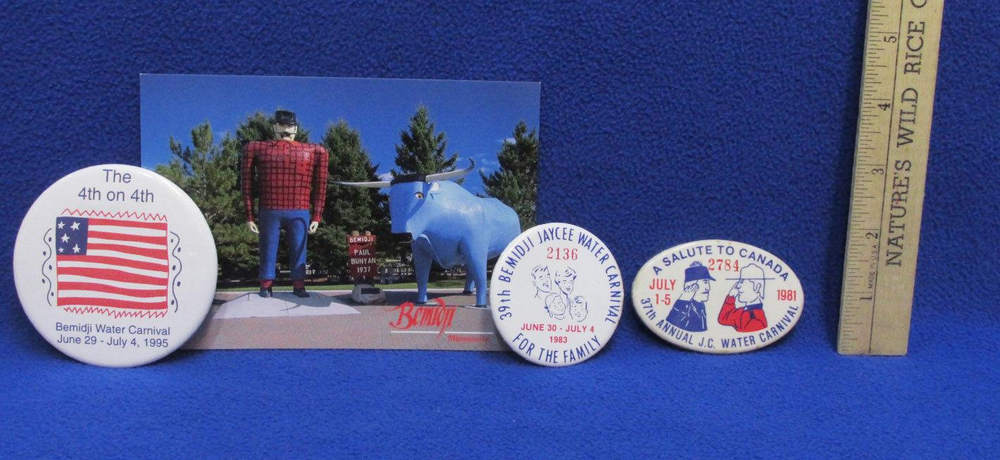 Paul Bunyan Postcard 3 JC Annual Water Carnival Button Pins White 1981 1983 1995