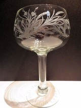 Etched Crystal Crystal Footed Compote Candy Candle Bleeding Heart Wheat - $19.79