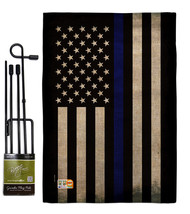 USA Thin Blue Line Burlap - Impressions Decorative Metal Garden Pole Fla... - $33.97