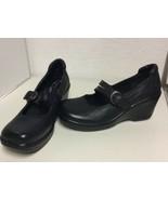 NEW BOC Born Concept Womens Sz 7 Black Wedge Mary Jane Shoes Clogs Leath... - $39.95