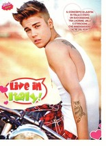 Justin Bieber teen magazine pinup clipping Japan live in Italy owl tattoo Bop