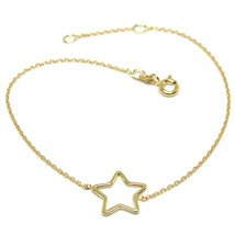 18K YELLOW GOLD SQUARE ROLO MINI BRACELET, 7.5 INCHES, OPENWORK STAR, IT... - $126.00