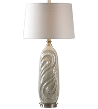 Table Lamps 1 Light With Sage Gray Glaze and Antiqued Brass Metal 33 inc... - $191.40