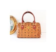MCM Visetos Cognac Brown Monogram Boston tote handbag authentic vintage - $290.00