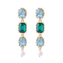 Summer Jewelry Green Square Glass Imitation Pearl Drop Earrings Women Ho... - $9.15